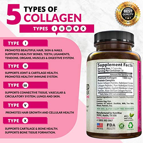 51keqti9N7L - Multi Collagen Peptides Capsules (Types I, II, III, V, X). Extra-Strength Hydrolyzed Pure Protein Powder for Hair Growth, Skin & Nails. Anti-Aging Joint Supplement for Women & Men. Gluten-Free Pills