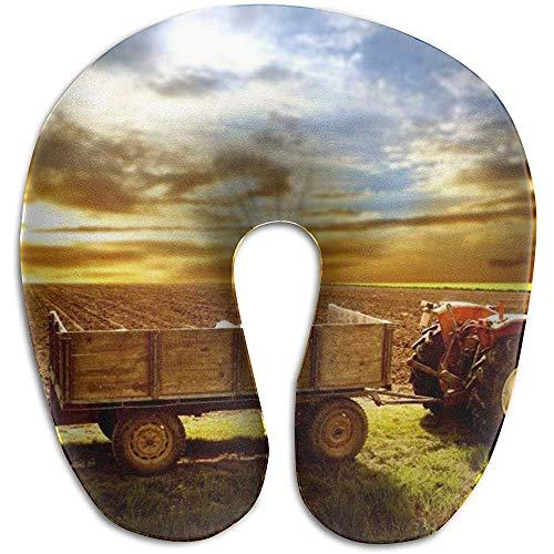 Hao-shop Idílico Sunset Old Farm Tractor Print Almohada en Forma de U Almohada de Cuello de Espuma para Viajar Moda de Dolor de Cuello con Material Resistente