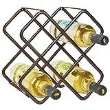 mDesign Estante para botellas y vino – Bonito botellero de metal en tres niveles con capacidad para hasta 5 botellas – Mueble botellero de pie para botellas de vino y otras bebidas – color bronce