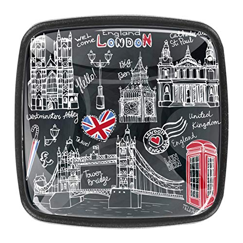 Pomos de gabinete de cocina para 4 unidades, pomos de estilo europeo, pomos de cajón, tiradores de puerta, tiradores de puerta, pomos de Inglaterra, Londres, símbolos de Inglaterra, color negro