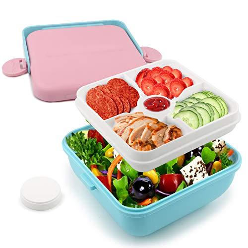 RAGZAN Lunchbox Salat Brotdose Kinder-Bento Box Brotdose mit 5 Separat Fächer Hat Einen Tragbaren Griff BPA Frei Geeignet für Kinder und Erwachsene Kann für Mikrowellen und Spülmaschinen