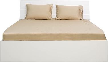 ملاءة سرير محكمة مربعة من الساتان بمقاس كوين 150 × 200 سم من هوتل لينين، بلون بيج