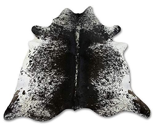 Zerimar Natuurlijk Tapijt Koeienhuid Zout-Peper Zwart & Wit |MAATREGELEN: 195x195 cm 2.71 m² |Tapijt in de woonkamer |Tapijtdecoratie |Slaapkamer tapijt |Natuurlijk tapijt