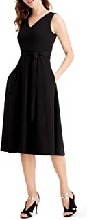 Self Tie Belted Midi Dress w/Embellished Should Detail