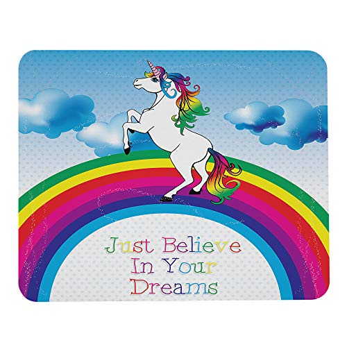 Wozukia Unicorn Gaming Mouse Pad with A Rainbow and Stars Decor Elements Cute Unicorn and Text Just Believe in Your Dreams Mouse Pads Rubber Mouse Mat for Computer Desk Laptop Office Work 7.9x9.5 Inch