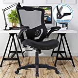 Office Chair Mesh Desk Chair Mid Back Computer Chair with Lumbar Support & Flip Up Arms Ergonomic Chic Adjustable Swivel Rolling Task Executive Chair for Men Women, Black