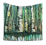 AueDsa Tapiz de Pared Poliéster,Pintura de Árboles Tapiz Pared Simple Verde Tapiz 150x100CM