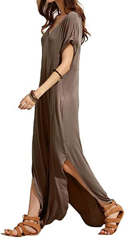 Match Women V-Neck Long Sleeve Irregular Dres Plain Weekly update Super intense SALE Pockets