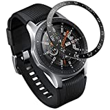 PINHEN Bezel Ring Compatiable with Galaxy Watch 46mm - Adhesive Cover Anti Scratch Aluminum Metal Bezel Ring Protector for Galaxy Gear S3 Frontier/Classic/Galaxy Watch 46mm, A-Black