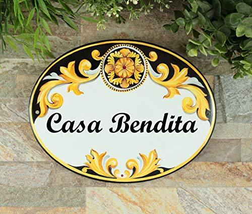 HRHRHREU Aangepaste familie naambord Keramisch huisteken Spaanse tegel voordeur naam plaques voor thuis Bruiloft cadeau voor paar