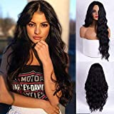 parrucca donna nera(1B) lunga realistica parrucca riccia synthetic hair wigs eparazione centrale onde capelli no lace front wig parrucca bambina 24inch(60cm)