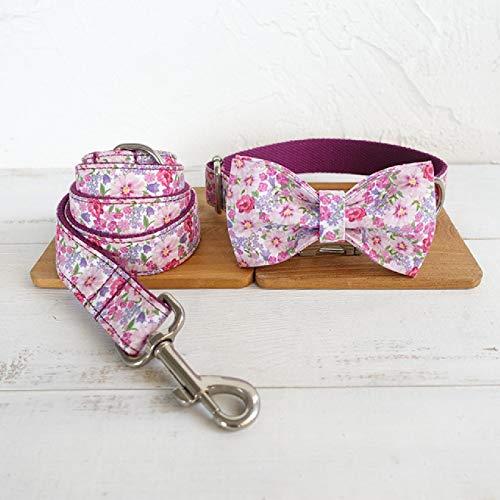 Conjunto de Collar y Correa de Perro de identificación Personalizada Collar de Mascota Turquesa con Lazo Collar de Perro Ajustable de liberación rápida Walker