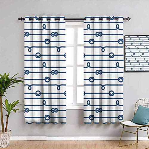 Navy Bedroom Decor Blackout Shades Ship Boat Sea Life Rope and Marine Nautical Knots as Border Lines Art Print Bathroom Curtain Navy Blue and White W63 x L63 Inch