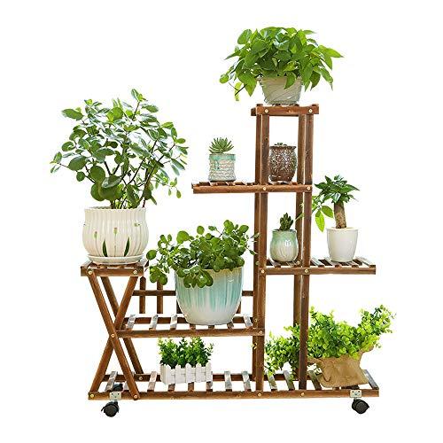 Scaffale per piante in legno carbonizzato, scaffale per vasi da fiori a 5 livelli Scaffale per piante grasse Scaffale antipolvere per palizzata Ruota universale mobile, per esposizione da giardino