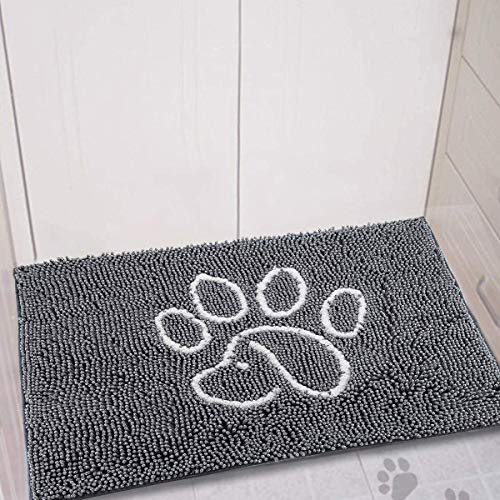 YOH Durable Chenille Doormat Super Absorbent Dog Paw Rug Non-Skid Door Mat Machine Washable Inside & Outdoor Large Area Rug for Entry, Mud Room Mat, High Traffic Areas, 48x30 inch, Grey