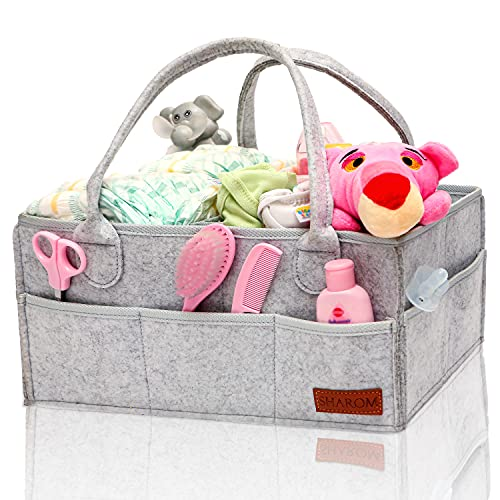 SHAROM Nappy Caddy Organiser - Sturdy 3mm Thick Portable Baby Diaper Bag...