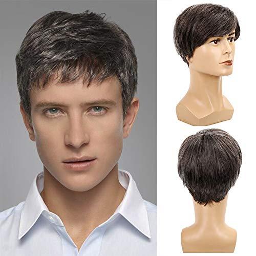 Baruisi Men's Short Gray Wig Synthetic Costume Halloween Hair Wigs for Men Cosplay