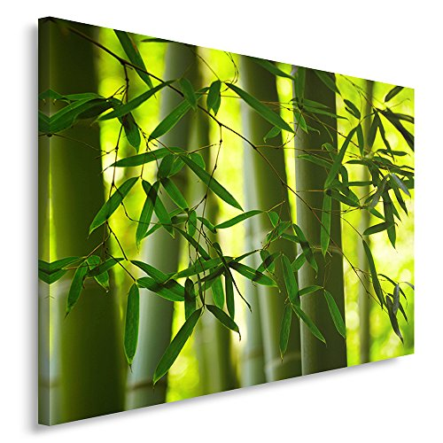 Feeby Frames, Cuadro en lienzo, Cuadro impresión, Cuadro decoración, Canvas de una pieza, 70x100 cm, BAMBÚ, ZEN, VERDE, COMPOSICIÓN, ORIENTE