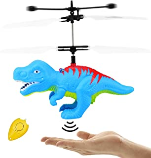 Flying Ball Dinosaur Toys, RC Kids Dinosaur Toy Infrared Induction LED Light Up Drone Helicopter Shining Colorful Flying Toys Indoor and Outdoor Games for 6 7 8 9 10 11 12 13 14 Year Old Boys Girls