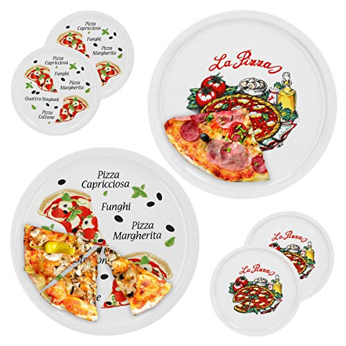 6er Set Pizzateller Napoli & Margherita groß - 30,5cm Porzellan Teller mit schönem Motiv - für Pizza / Pasta, den \'großen Hunger\' oder zum Anrichten geeignet