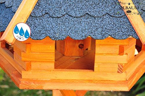 Vogelhaus-Futterhaus Massivholz,Massiv-Vogelhäuser, XXL ca. 70-75 cm, wetterfest Massivdach, mit Silo/Futtersilo für Winterfütterung,Gartendeko aus Holz blau grau BGX75blOS Vogelhäuser - 5