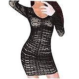 ELECTRI Robe Femme Dentelle Cordon Drapé Manche Longue Jupe Hanche Sexy Robes Grande Taille Robe de Soirée Mode Mini Dress Femmes Printemps été