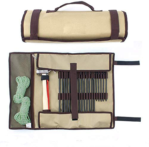 AMhuui Sac Nail Camping en Plein air, Équipement Simple Facile Kit Sac Plein air Sauvage Kit, Camp de Stockage Tente Marteau Portable Grand
