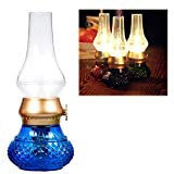 Flameless LED Light, Decorative Rechargeable Flameless Candle Lantern, Vintage Oil Table Lamp with Blow ON/Off Control, Dimmer Control Key, Kerosene Lamp, Bedside Lamp,Small Night Light (Blue)