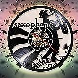 Jugador de saxofón silueta sombra reloj de pared música disco de vinilo reloj de pared jazz música saxofón amantes pared art deco