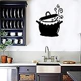 Tianpengyuanshuai Tatuajes de Pared sartén patrón Vinilo Etiqueta de la Pared Olla Cocina Cocina Gourmet Impermeable decoración del hogar 42x50 cm