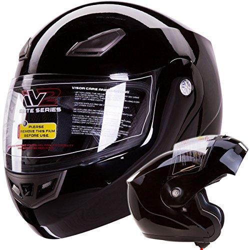 IV2 Bluetooth Compatible Modular Flip up Motorcycle Helmet Gloss Black- Model #936 [DOT APPROVED] (X-Large)