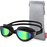ZIONOR Swimming Goggles, G6 Non Polarized Swim Goggles UV Protection Watertight Anti-Fog Adjustable Strap Comfort fit for Unisex Adult Men and Women (Non-Polarized Mirror Gold Lens Black Frame)