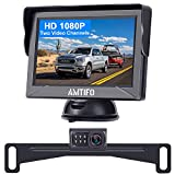 AMTIFO A12 HD Backup Camera Kit Two Video Channels Monitor Driving Hitch Rear/Front View Observation System for Trucks,Cars,Campers,RVs DIY Guide Lines Waterproof Camera Night Vision