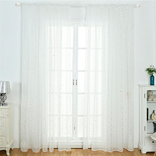 Cortinas de gasa Tulle, con estampado de estrellas blancas para ventana, para puerta, transparente, para sala de estar, dormitorio, White Eyelet, 100*270cm
