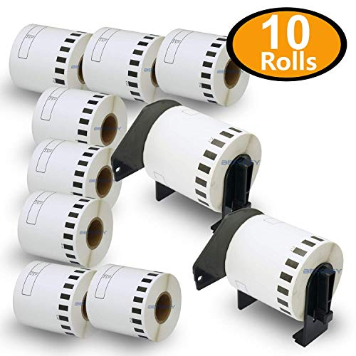 BETCKEY - Compatible DK-2212 Continuous 2-3/7' x 50' Matte Film Replacement Labels,Compatible with Brother QL Label Printers [10 Rolls + 2 Refillable Cartridge Frame]