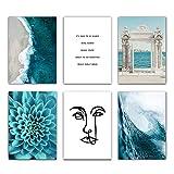 QND,Mural,Waves Blue Flower Ocean Wall Poster Mar Beach Landscape Impresión en Lienzo Pintura Arte Decoración de la habitación Imagen, 6CPS Set, 20x25cm sin Marco