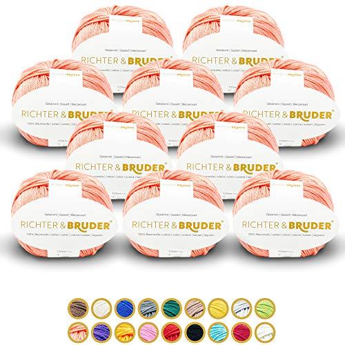 Richter & Bruder - Gomitolo di lana per lavoro a maglia e uncinetto, 10 x 50 g/125 m, 100% cotone, colore: Bianco salmone