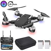 3T6B Dron con Cámara,1080P HD, Avión WiFi FPV por Control Remoto, Cuadricóptero Plegable, 3 Modos de Velocidad, Modo sin Cabeza, Foto Gestual, Regreso con un Solo Botón, Volando por 20 Minutos, Negro