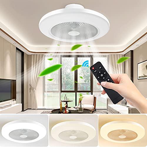 FULLOVE Deckenventilator mit Beleuchtung, Deckenventilator Leise, Deckenventilator mit Fernbedienung, Led Deckenleuchte Dimmbar, 36W Deckenleuchte Wohnimmer Schlafzimmer Esszimmer