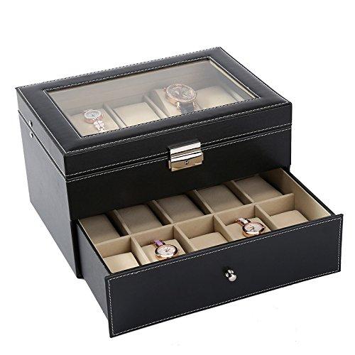 Kanpans Uhrenbox, Herren-Parkservice-Schublade - 10-Fach Luxus-Uhrenbox-Display-Finisher, Herren-Schmuckuhr Metallschnalle, Herren-Aufbewahrungsbox-Halterung