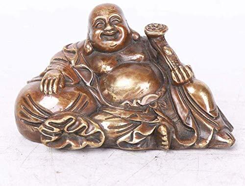 DYB Feng Shui Chino Buda de Cobre Puro Buda Sentado Estatua de Buda riendo Artesanía de Oficina Decoración Felicitación Atraer Riqueza y Buena Suerte Regalos 121