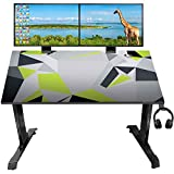 BUILDbox I Shaped Office PC Computer Gaming Desk Gamer Tables Pro Switch Box Holder Headphone Hook Free Smooth Mobile pad for Men Boyfriend Female (47' | Green)