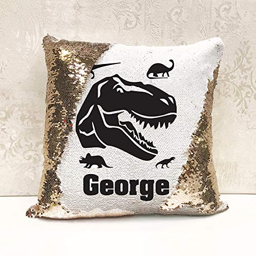 Genie Wholesale Luxury Personalised Reversible Sequin Cushion Dinosaur Gift Add any name for the perfect personalised present(Cover Only)