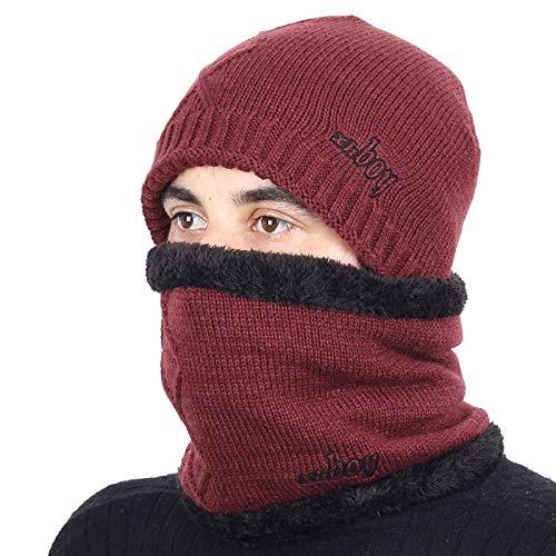 Bonnet Unisexe Chapeau tricoté Homme Beanie Hats, Pièceschaudes Chapeaux d'hiver Chapeaux GS pour Femmes Hommes Épais Coton Hiver Accessoires Femme Beanie Homme Écharpe @ Vin