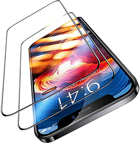 TORRAS Militärische Vollbild Panzerfolie für iPhone 12/12 Pro Schutzglas (9H Festigkeit Full Screen) Unzerstörbare 3D Schutzfolie mit Installationswerkzeug (2 Stücke)