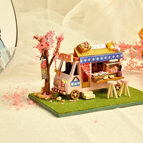 SXBF Kit de Muebles de Madera de Mini casa de muñecas de Bricolaje, Modelo en Miniatura, cabaña pequeña Hecha a Mano, con luz LED,B