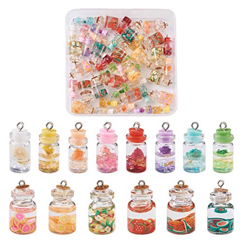 Cheriswelry 56 colgantes de té de frutas con cuentas de arcilla de resina secas, botellas de vidrio, colgantes en miniatura para hacer joyas y llavero