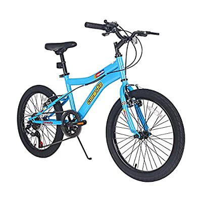 LPP Kids Mountain Bike 20 Inch 6 Speed Children Bicycle with Kickstand for Boys Girls 8-13 Years (Blue)
