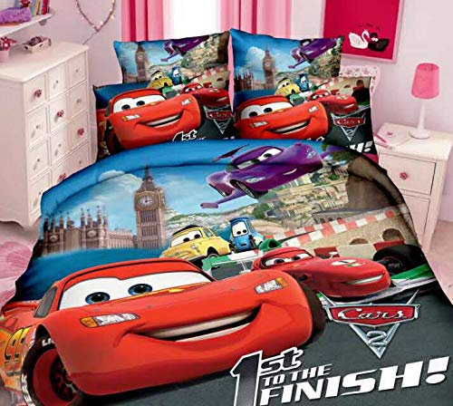 LINER New Blitz McQueen Car Bed Linen 3D Bedding Set Single Boy Duvet Cover Bedding Nursery Decoration New Bedding Cartoon, 2, 140x210cm