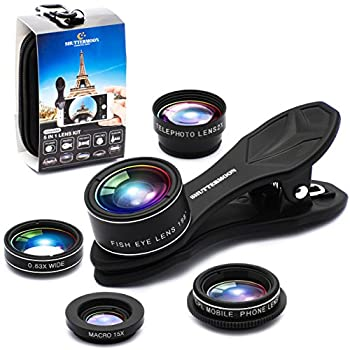 SHUTTERMOON UPGRADED Phone Camera Lens Kit for iPhone 12/11/Xs/R/X/8/7 Smartphones/Pixel/Samsung/Android Phones Camera 2xTele Lens Zoom Lens+Fisheye Lens+Super Wide Angle Lens&Macro Lens+CPL  5 in 1
